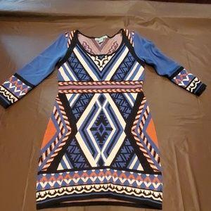 Blue and orange sweater dress